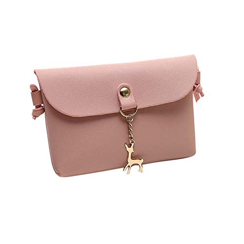 Damen Mini Kleine Leder Umhängetasche Hirsch Crossbody Frauen Retro Handtasche (Rosa)