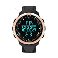 ‏‪Men's Sports Watches Digital LED Backlight Watch and Waterproof Casual Large Face Military Watches Outdoor Stopwatch‬‏