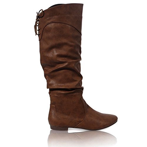 Damen Stiefel Flach Reißverschluss Wadenlänge Spitze Reitstiefelette Schuhgröße 36-41 Hellbraun