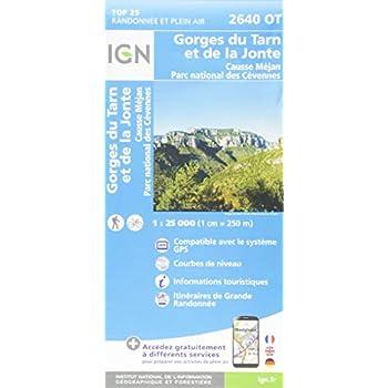 Gorges du Tarn et de la Jonte, Causse Méjan, PN des Cévennes : 1/25 000