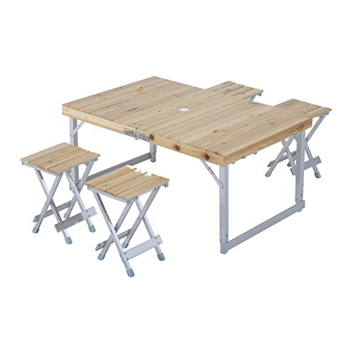 Outsunny® Campingtisch Set Klapptisch Sitzgruppe Holztisch Picknicktisch Koffertisch inkl. 4 Hocker (Lackierte Tische Möbel)