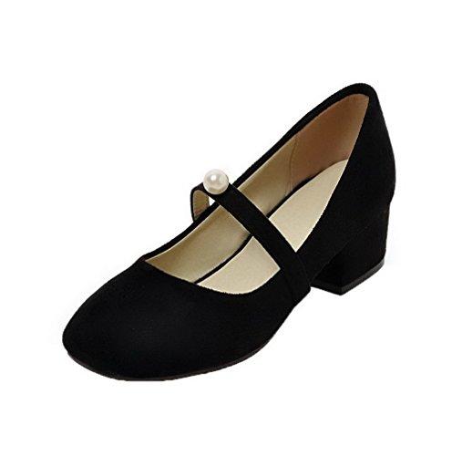 AgooLar Damen Niedriger Absatz Mattglasbirne Rein Schließen Zehe Pumps Schuhe, Schwarz, 39