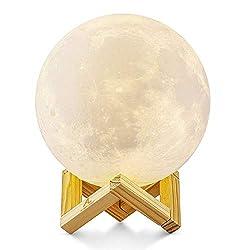 Größer! 15cm Mond Lampe Nachtlampe 3D Mond Lampe Mondlicht ALED LIGHT 5.9 Zoll Durchmesser Mond Nachtlicht Lampe 3 Farbe Wählbar Schlafzimmer Dekor USB Lade Stimmung Licht für Schlafzimmer Cafe