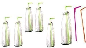 trinkgl ser flaschen mit deckel und trinkhalm 6 flaschen gl ser set a 500 ml garten. Black Bedroom Furniture Sets. Home Design Ideas