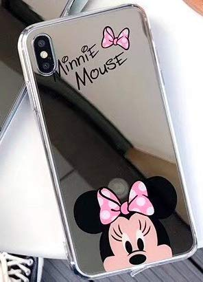 TN Cases Store Coque iPhone X et iPhone XS Minnie Mickey Mouse Effet Miroir Design Rose Silicone Souple