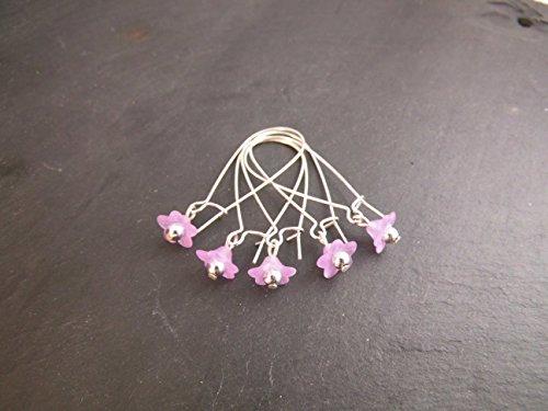 Maschenmarkierer verschließbar Stricken Häkeln Blüte Blume zart lila 5 Stück -