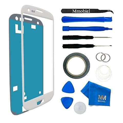 Kit de remplacement d'écran tactile pour Samsung Galaxy S3 MINI i8190 i8195 BLANC; inclus: Vitre de rechange; Pincette; Ruban adhésif 2mm; Chiffon microfibre; Kit d'outillage spécifique; fil métalique