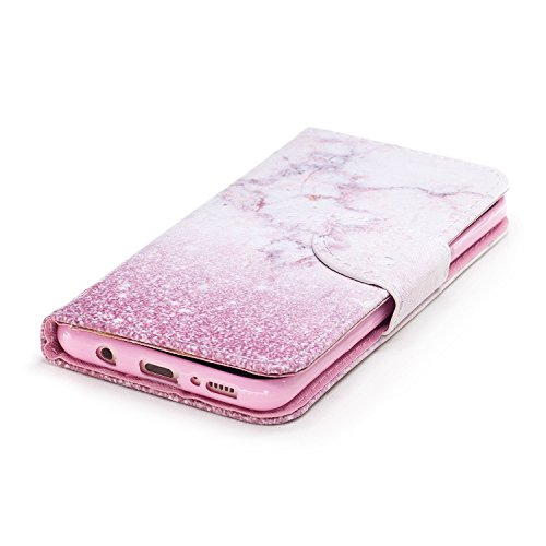 Galaxy S8 Plus Hülle,Galaxy S8 Plus Lederhülle,Hpory Vintage Elegant Painted Muster Handyhülle im Bookstyle PU Leather Wallet Brieftasche Flip Case Cover Ledertasche,Etui Folio Handytasche mit Standfu Rosa Marmor