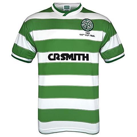 Celtic FC officiel - T-shirt thème football - homme - rétro/finale de la Coupe d'Écosse 1985 - domicile - vert - XL