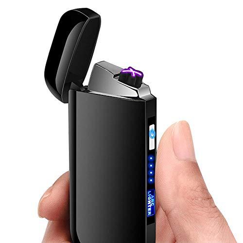 leegoal Elektronisches Feuerzeug Dual Arc Lighter LED USB Elektrisches Feuerzeug Plasma wiederaufladbar flammenlos Winddicht Touch Switch Lighter Gut für Zigaretten, Kerzen und Sport Outdoor Schwarz