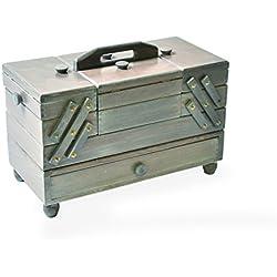Aumuller Korbware AUMUL - Costurero de madera de haya, color gris envejecido