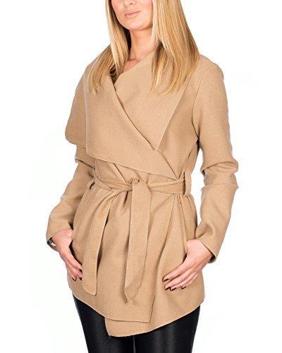 Kendindza Damen Mantel Trenchcoat mit Gürtel OneSize Lang und Kurz (OneSize, Camel Kurz)