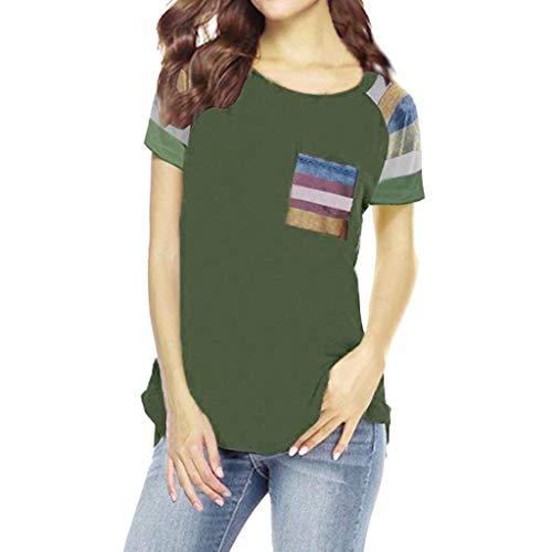 Vimoli Frauen Kurzarm T-Shirt Blusen Damen Streifen Hülsen Patchwork beiläufiges Spitzen T-Shirt Lose Kurze Hülsen Spitzenbluse(Schwarz,M)