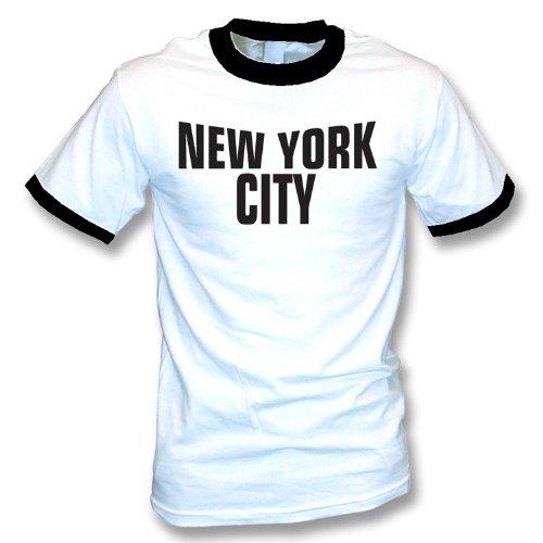 TshirtGrill T-Shirt New York City (wie von John Lennon getragen) groß, Farbe- Weißer (schwarze Ordnung) Wecker