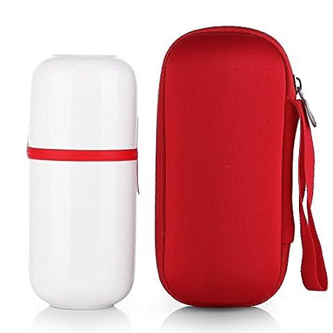 Qileyin Qly018200ml en porcelaine de style japonais fait à la main Kung Fu Tasse à thé, EN CÉRAMIQUE Portable Voyage Tasses à thé et Infuseur et couvercle et sac 200ml Red