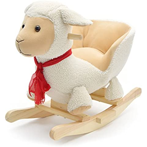 Pink Papaya animal mecedora oveja Lotta, para niños o bebés caballo mecedora, silla mecedora especial para niños, con sonido, altura de cabeza aprox. 50 cm, altura del asiento aprox. 30 cm