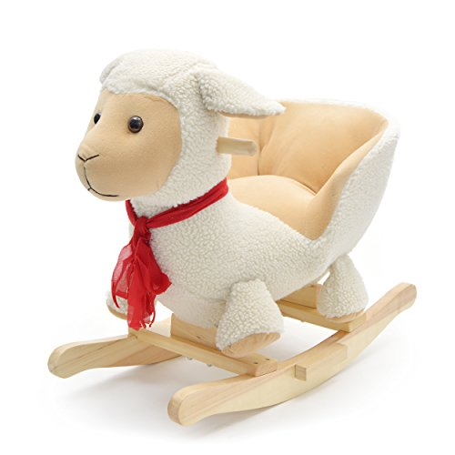 Pink Papaya Rocking Animal Lotta, Sheep for Children and Babies Rocking horse, Special rocking chair for kids, with sound, head height approx. 50 cm, seat height approx 30 cm
