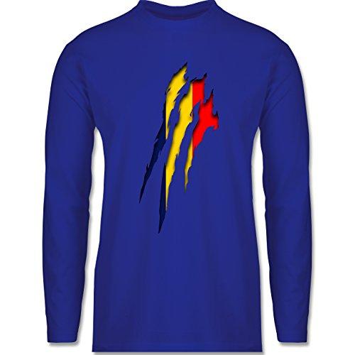 Shirtracer Länder - Rumänien Krallenspuren - Herren Langarmshirt Royalblau