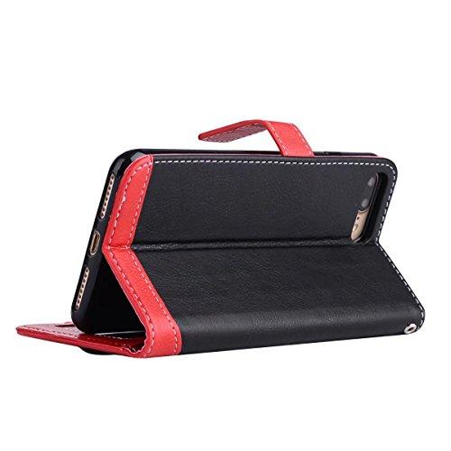 EKINHUI Case Cover Litchi Texture Dual Farbe Stitching Pattern Synthetik Leder Tasche Cover Flip Stand Case mit Lanyard & Card Slots für iPhone 7 Plus ( Color : Pink ) Black