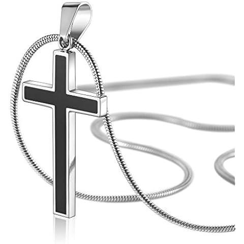 AmorFeel Unisex, in acciaio, colore: nero titanio-Collana con ciondolo a forma di croce, con catena a serpente 20/55,88 (22