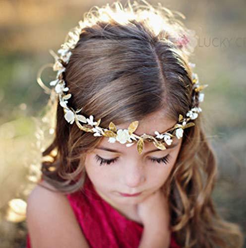 Simsly Blumenkranz im Boho-Stil, Krone, Hochzeit Girlande, Stirnband, Blumen, Haar-Zubehör für Frauen und Mädchen