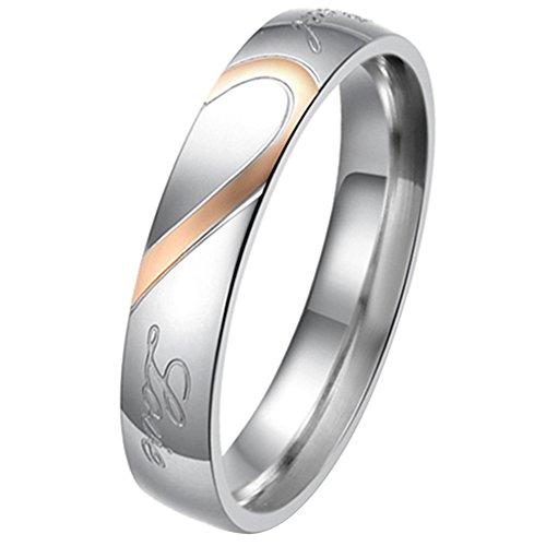 """JewelryWe Gioielli anello da uomo donna acciaio inossidabile promessa """"Real Love"""" e amore cuore dipinto fidanzamento matrimonio Bands (donna misura O)"""