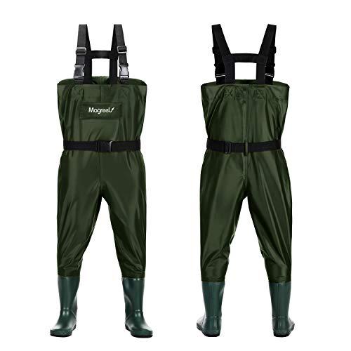 Magreel Wathose Kinder wasserdichte atmungsaktive Nylon/PVC-Wathose mit Stiefeln zum Angeln Jagen für Kleinkinder Jungen Mädchen, Armeegrün