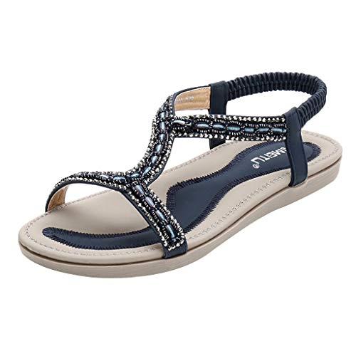in Vendita! Sandali da Spiaggia Piatti da Donna con Cinturino Elastico A Punta Aperta della Boemia di Kinlene