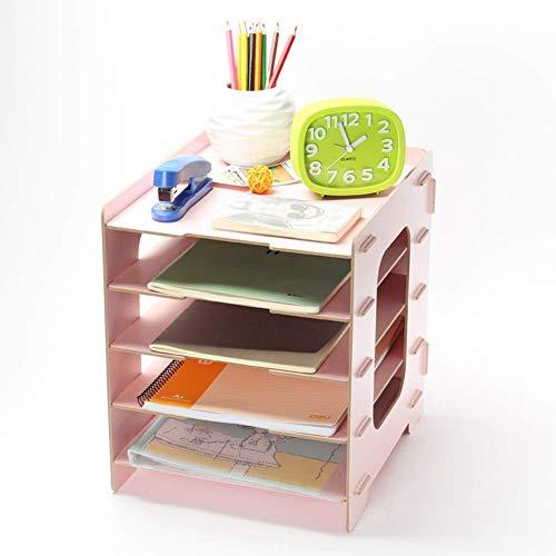 Qligha cartella di archiviazione cartella di legno fatto a mano da scrivania ufficio di studio di colore solido,pink