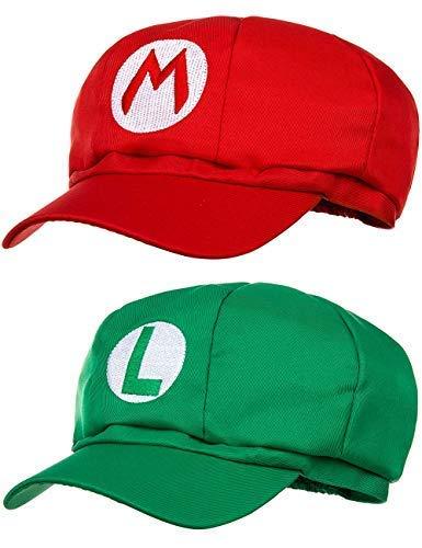 Balinco Doppelpack Super Mario Mütze + Luigi Mütze für Erwachsene und Kinder Karneval Fasching Verkleidung Kostüm Mützen Hut Cap Herren Damen - Lustige Karneval Kostüm