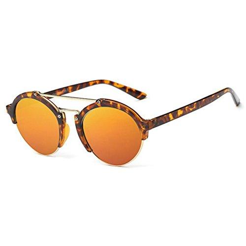 QHGstore Unisex Halbbild Horn umrandeten im Freien Spielraum Sportbrillen PC Rahmen der klassischen Frauen Mann Sonnenbrille Tawny Pattern + Rot