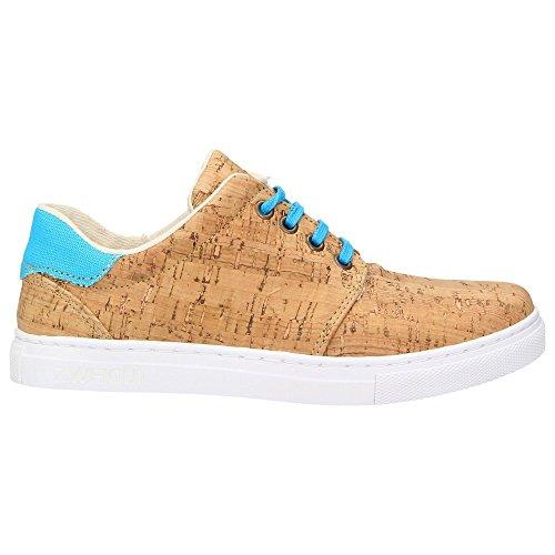 ZWEIGUT® -Hamburg- echt #401 Kork Allwettertauglich Schuhe Damen Halbschuhe Sneaker, vegan + nachhaltig aus echtem Kork, Schuhgröße:38, Farbe:türkis-kork - 3