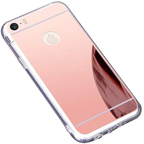 Ukayfe Custodia iPhone 6,Cover iPhone 6S,Custodia Specchio in TPU Silicone Lusso Cristallo Placcatura Mirror Case Ultra Sottile Silicone Morbida Gomma Protettiva Cover per iPhone 6/6S-Oro Rosa
