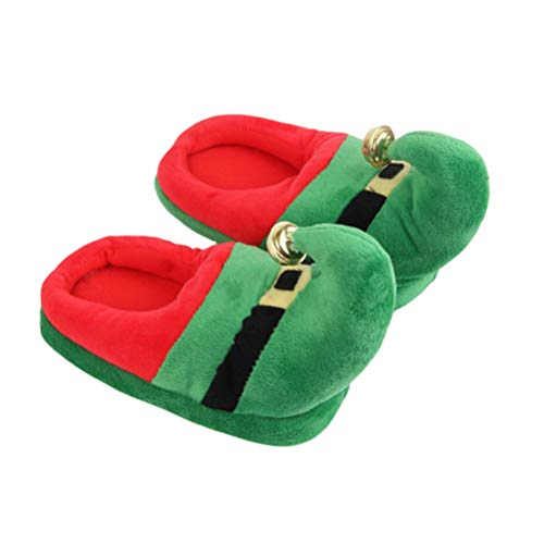 TENDYCOCO Plush Slippers Christmas Elf Slippers with Bell Xmas Slippers for Kids Adults
