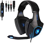 SADES Gaming Headset for New Xbox One, PS4, PC, Noise Reduction Game Earphone, Bass Surround Over-Ear Headphon