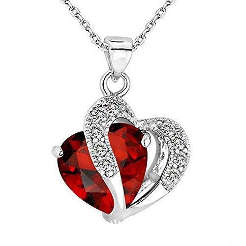 Halskette Schlüsselbein Pullover Kette Herzförmige Zirkon Kristall Multicolor Muttertagsgeschenk (Rot)
