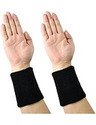 westeng Professional–Muñequeras Sweatband Athletic paño de algodón muñequera para deporte Yoga muchos colores choosed, Black x2