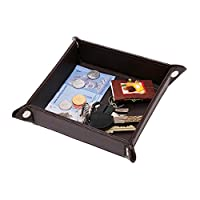 Uworth Small Leather Valet Catchall Snap Jewelry Tray Bedside Storage Tray for Key, Coin, Phone Brown
