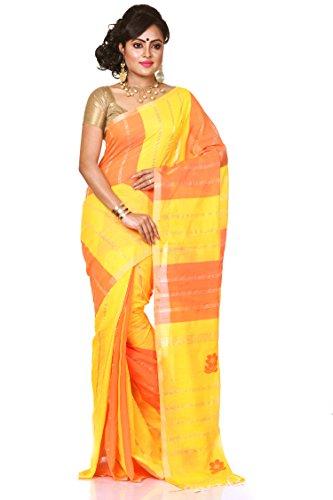 Bengal Handloom Saree Women's Silk Cotton With Blouse Piece (Htsr22_Yellow)