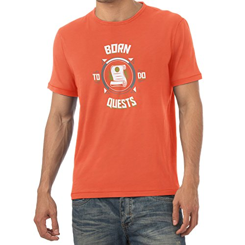 TEXLAB - Born to do Quests - Herren T-Shirt, Größe L, orange