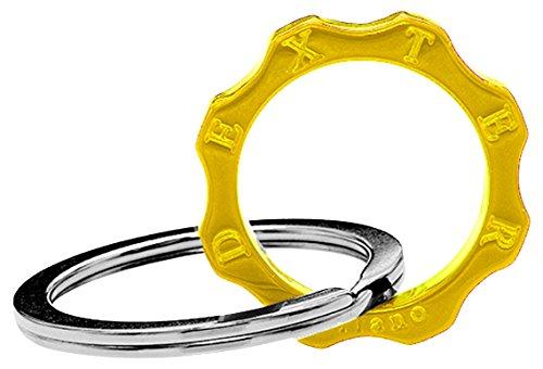 Dexter milano time machine portachiavi ed anello brisè ingranaggio, in acciaio con elemento in plexyglass, giallo