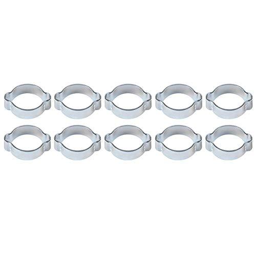 10pcs Colliers de Serrage Double Oreille Tuankayuk Tuyau de Carburant et d'eau Pince à Sertir en Acier au Carbone 11-13MM