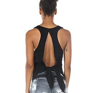 icyzone Damen Tank Tops Casual Kurzarm Rückenfrei Shirts für Yoga Workout