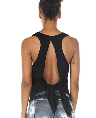 icyzone Damen Tank Tops Casual Kurzarm Rückenfrei Shirts für Yoga Workout (S, Black)