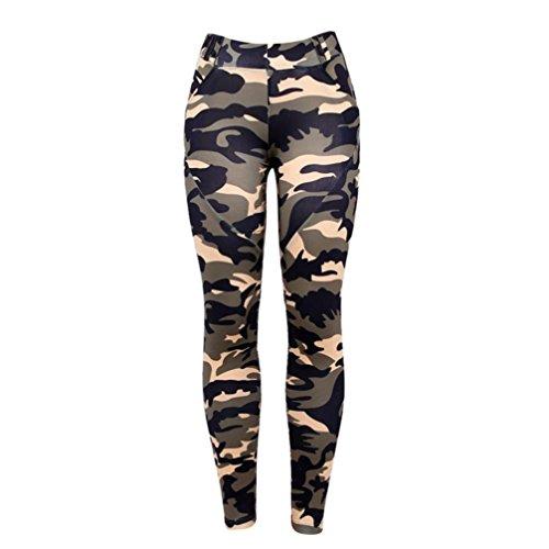 Pantalon de Yoga femmes,Jimma Femmes Camouflage Yoga Leggings,Gym Sports Yoga Running Pantalons de fitness Pantalon athlétique Taille haute Vert d'armée