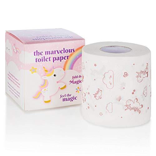 Goods & Gadgets Einhorn Toilettenpapier - niedliches Klopapier mit Popcorn Duft-Aroma