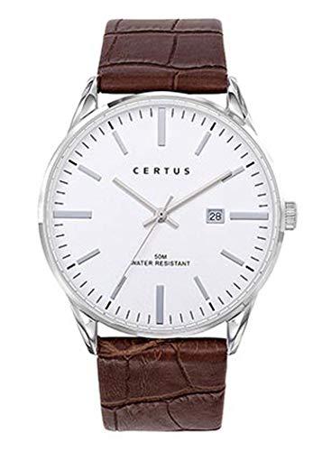 Certus–Reloj Hombre–h611m126–Piel marrón–Reloj Color Blanco–Fechador