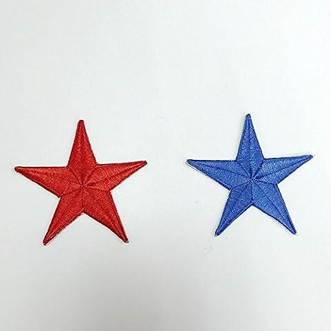 Remiendo del hierro nueva 5 colores estrella de 7cm de militares Silver Star Parches 10pcs Logo Set apliques bordados por encargo de rojo y verde