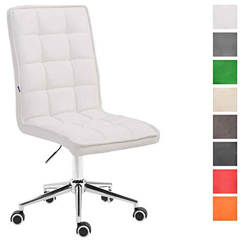 CLP Arbeitshocker Peking V2 mit Kunstlederbezug | Schreibtischstuhl mit Leichtlaufrollen | Höhenverstellbarer Drehstuhl Weiß