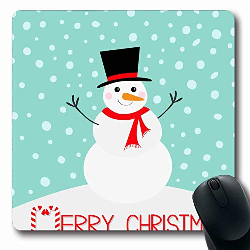 Luancrop Mousepad Langes Kostüm Roter Schal Frohe Weihnachten Schneemann Karotten Nasenhut Nette Feiertage Blau Baby AST Zuckerstange Büro Computer Laptop Notebook Mauspad, Rutschfester Gummi